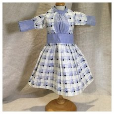 Early 20c. Blue White and Black Print Dress