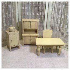 Four Pieces of Strombecker Style Doll House Kitchen Furniture from 1940s