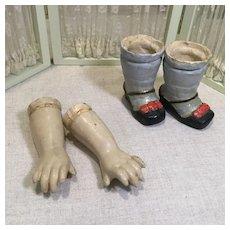 19c. Papier Mache' Lower Arms & Legs for Papier Mache' Doll
