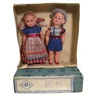 "Pair of Mid Century 4"" Dolls, in Orig. Box & Clothes"