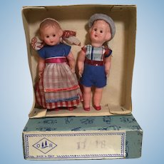 "Pair of Mid Century 4"" Dolls, in Orig. Box & Clothes"