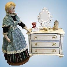 Late 19c. Doll Bureau & Vanity Items and Mirror