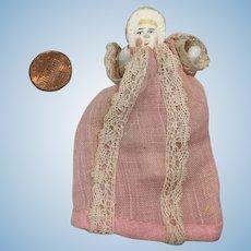 "Tiny 2-3/4"" Bisque Bonnet Head in Original Factory Chemise"