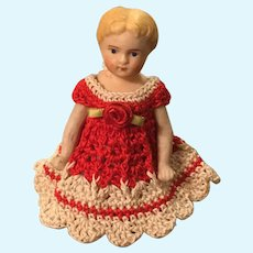 """4-1/2"""" all Bisque Doll House Dweller"""