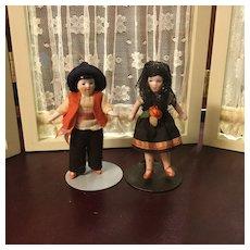 Pair of Hertwig All Bisque Dolls in Regional Garb