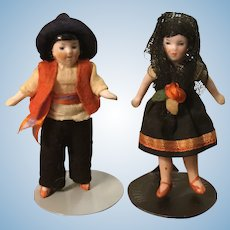 Pair of Hertwig All Bisque Dolls in Regional Garb
