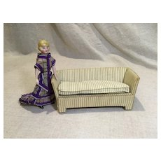 Vintage Doll House Upholstered Sofa