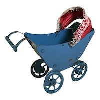 Doll House Sized Tin Penny Toy Doll Carriage