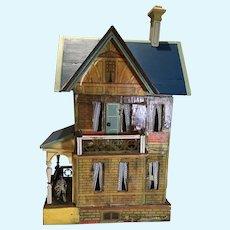 C.1902 Gottschalk Blue Roof Doll House w/Balcony & Porch