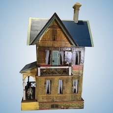 C.1902 Gottschalk Blue Roof Doll House w/Balcony & Porch