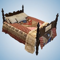 Great 19c. Rope Bed with Dressings to Finish