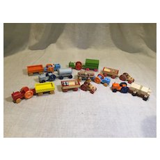 Boxed Set of Vintage Wooden Miniature Vehicles -German