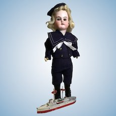 "9"" German Boy in Original Mariner Outfit and Boat"