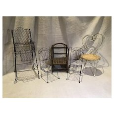 5 Vintage Doll Chairs for Display