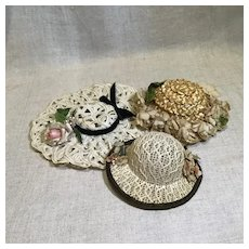 Three Vintage Doll Hats for Cabinet Sized Doll