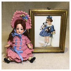 Dear Antique Print Of Child, Pup, and Doll