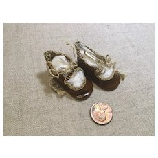 Vintage Small Tie Doll Shoes in Oilcloth