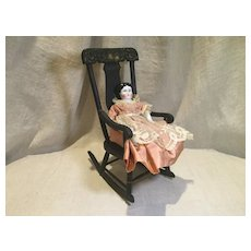 Early 20c. Doll Boston Rocker with Hand Painting Detail