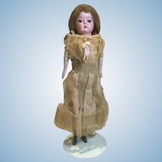 """10"""" Papier Mache Doll, Carved Wood Arms and Legs"""