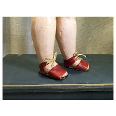 Deco Era Red Oilcloth Doll Sandals