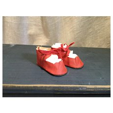 Large Compo Doll Oilcloth Tie Shoes in Great Condition