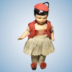 Painted Bisque Hertwig Doll House Doll in Greek Regional Garb
