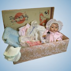"Early Effanbee 11"" Dy-Dee Baby, Earlier Box, and Layette"