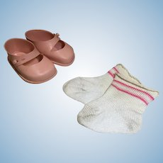 1950s Fairyland Pink Side Tab Shoes and Pink Striped Socks