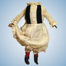 Late 19c. Cloth Doll Body with Dressings for Shoulderhead Doll