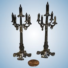 Pair of Antique Miniature 5 Arm Candelabra for French Fashion or MIgnonette, Doll house