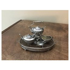 C.1910 English Sterling Silver Miniature Tea Set and Tray