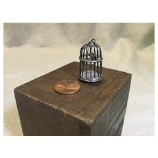 Doll House Miniature Silver Birdcage with Bird