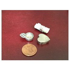 Three Vintage Doll House Silver or Pewter Miniatures