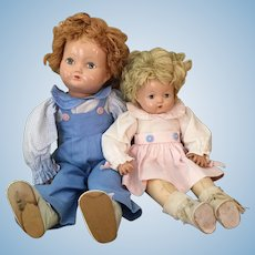 Effanbee Brother and Sister Compo and Cloth Dolls 1940s