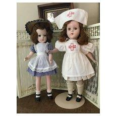"1950s HP Mary Hoyer & Nurse Friend in 14"" Size"