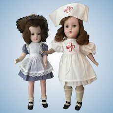 "1950s HP Mary Hoyer & Nurse Friend in 14"" Size"