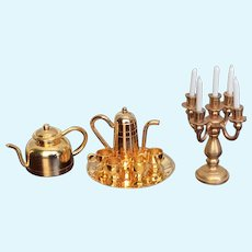 10 Piece Vintage Assortment of Brass Doll House Accessories