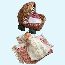 """4"""" German Painted Bisque Babe in Wicker Bed"""