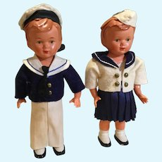 Pair of 1950s Six Inch Dolls in Great Mariner's Outfits