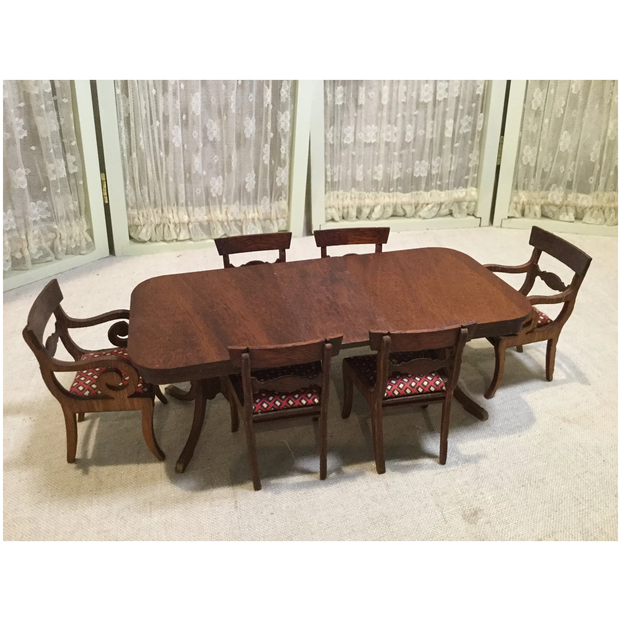 Vintage Duncan Phyfe Dining Table Set 6 Chairs Leaf Timeless Pieces Antiques Ruby Lane