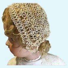 Hand-done Bonnets-One Tatted & One Irish Crochet