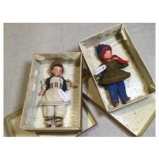 Pair of Hertwig Ptd. Bisque Dolls in AO Outfits and Boxes