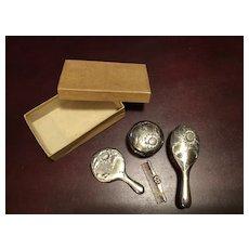 Unused Vintage SIlver Tone Doll Vanity Set & Original Box #2