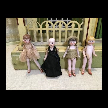 "Four Hertwig All Bisque 3"" Doll House Dolls"