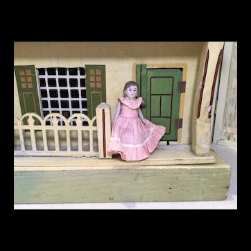 "3"" Hertwig All Bisque Doll in Great Dress"