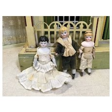 Three c.1900 Doll House Dolls With Shoulderheads