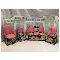 Deco Era Four Piece Fabric Parlour Set