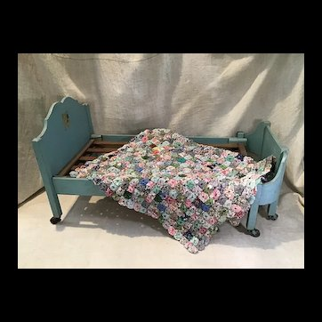 Deco Era French Style Doll Bed and Great Quilt