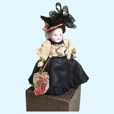 """Dear German All Bisque """"Lady"""" for Your Doll House"""