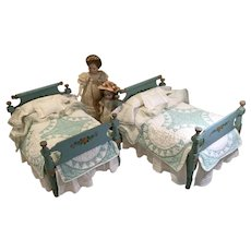Rare Pair of Late 19c. Hand Painted Doll Beds w/ Matching Dressings